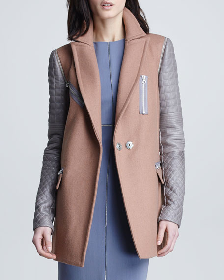 Leather-Sleeve Felt Coat