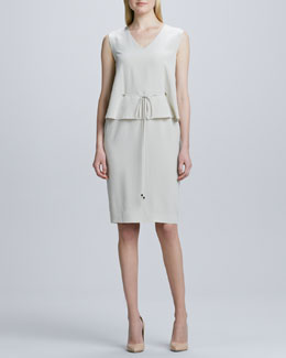Magaschoni Sleeveless Drawstring-Waist Dress