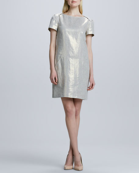 Metallic Sheath  Linen Dress