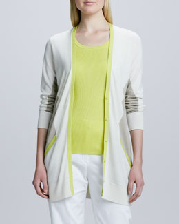 Magaschoni Colorblock Boyfriend Cardigan Sweater