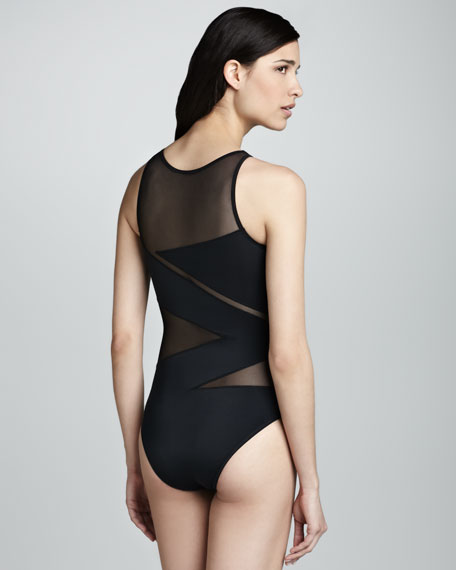 Elizabeth High-Neck Zigzag One-Piece Swimsuit, Black