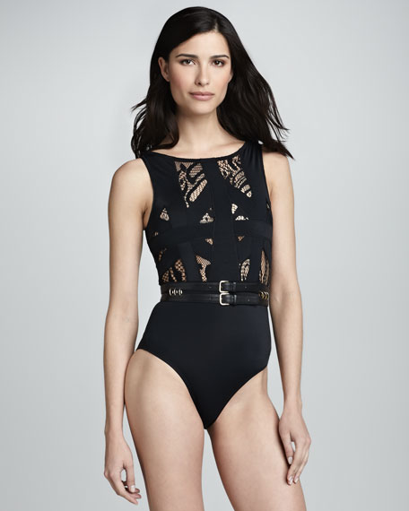 Elsa Lace One-Piece Swimsuit, Black