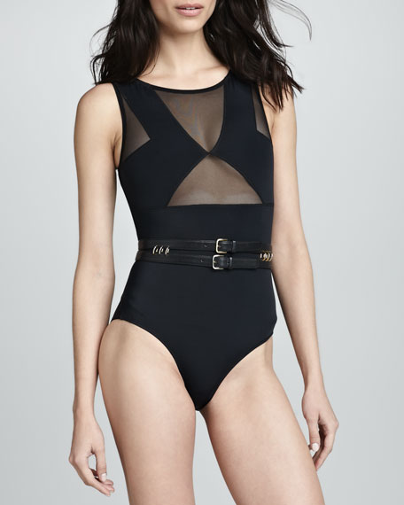Miranda High-Neck Mesh One-Piece Swimsuit, Black
