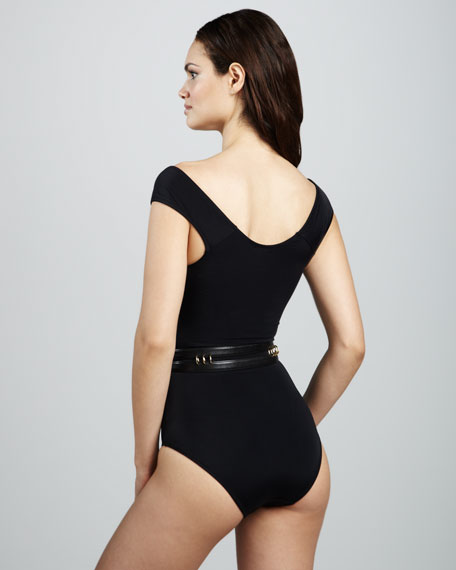 Sandy Scoop-Neck Swimsuit, Black