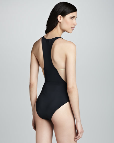 Stella High-Neck Nude-Insert One-Piece Swimsuit, Black