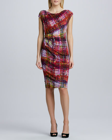 Printed Draped-Neck Ruched Dress