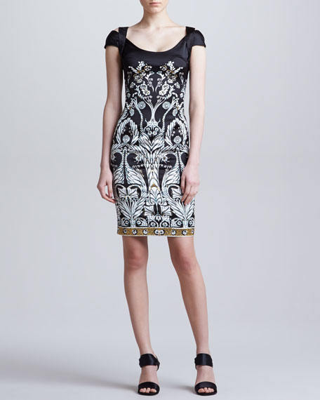 Medallion-Print Dress, Black/White