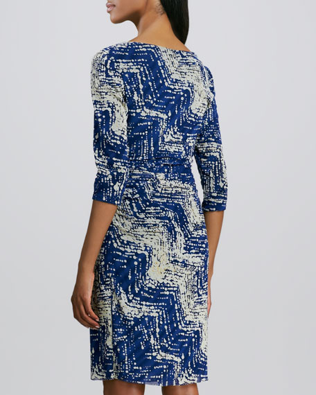 Boat-Neck Print Mesh Dress