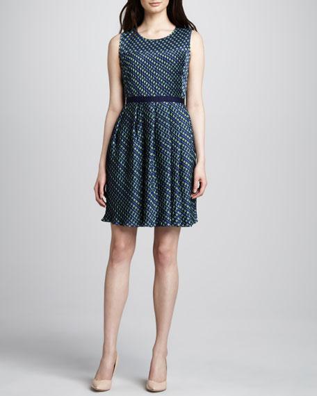 Printed Knife-Pleated Dress