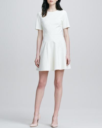 Tibi Fit-and-Flare Seamed Dress