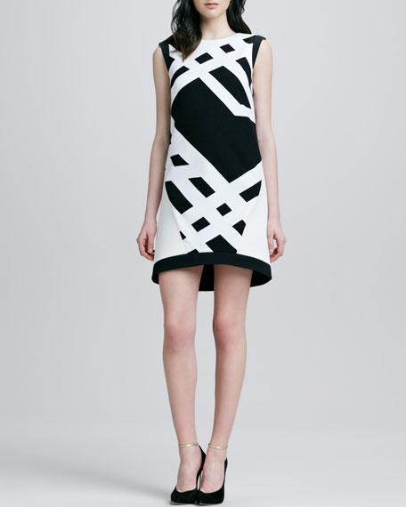 Jewel-Neck Printed Dress