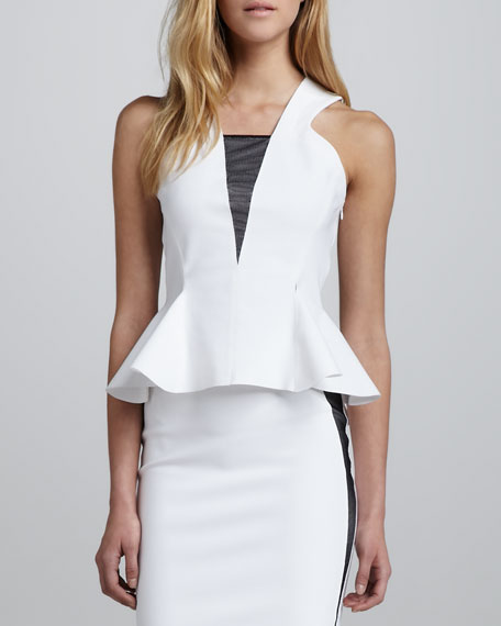 Techno Sleeveless Flounce Top, White