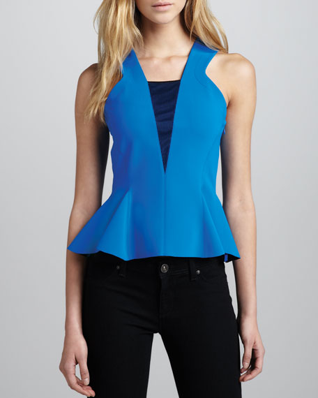 Techno Sleeveless Flounce Top, Azure
