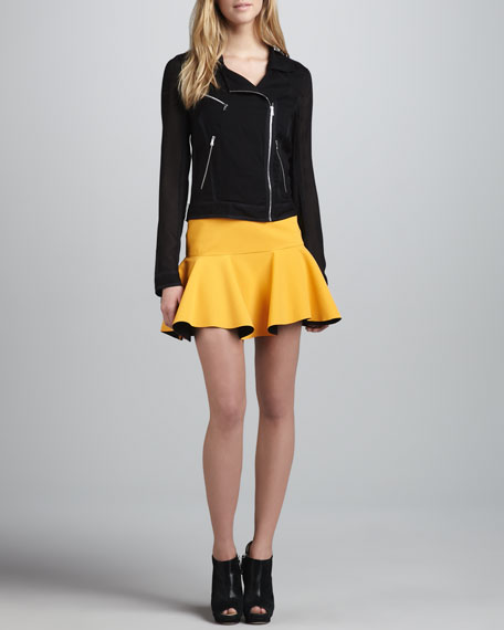 Techno Contrast-Flounce Skirt