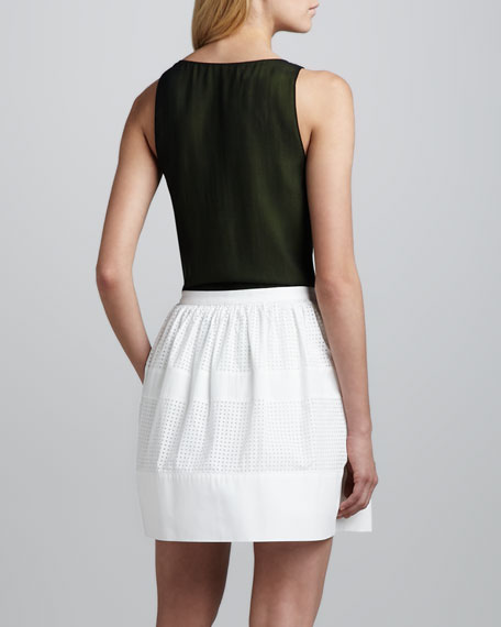 Robert Rodriguez Perforated-Stripe Cotton Skirt