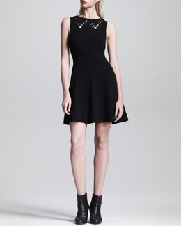 Rag & Bone Lillian Cutout-Collar Full-Skirt Dress
