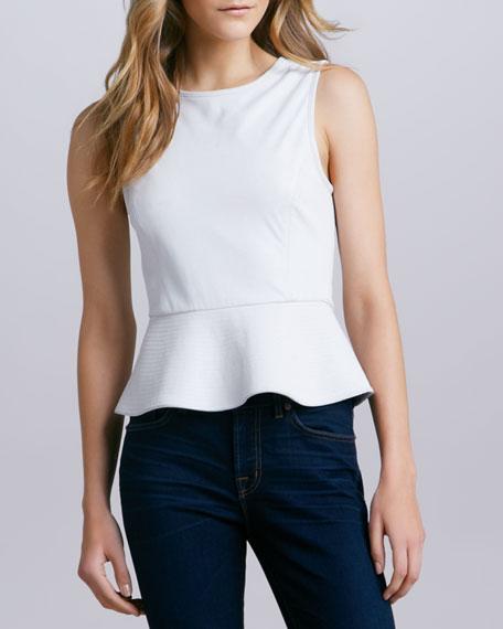 Elleria Leather Peplum Top, White