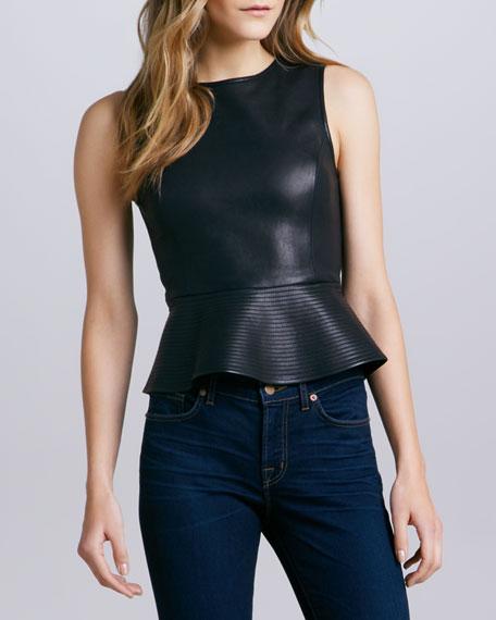 Elleria Leather Peplum Top, Black