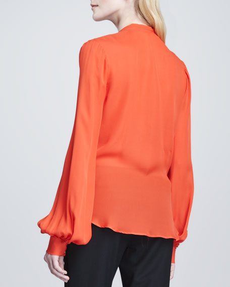 Long-Sleeve Tie-Neck Blouse