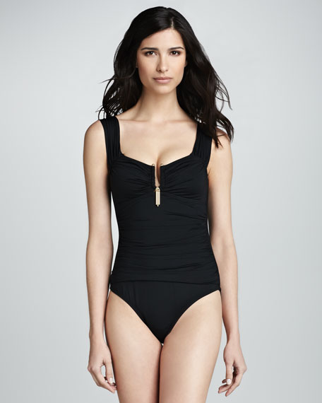 Ruched Bar-Detail One-Piece
