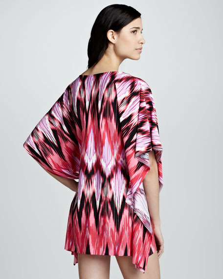 Hot Tropics Ikat-Print Coverup