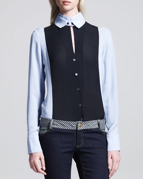 Double-Collar Silk Blouse