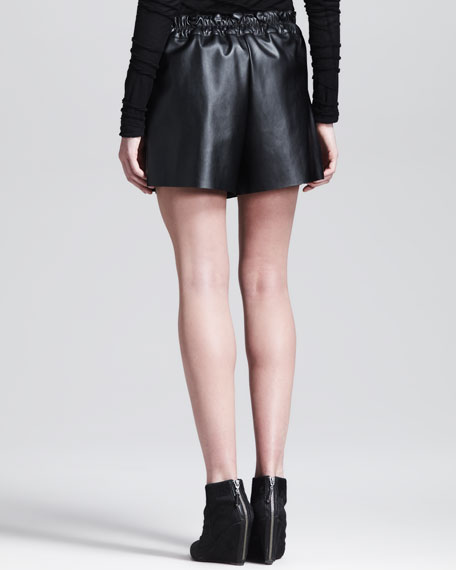 Belted Faux-Leather Shorts