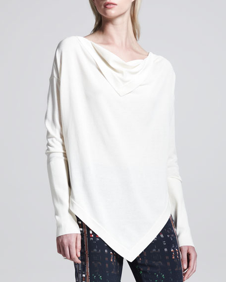Angled Drape-Front Sweater