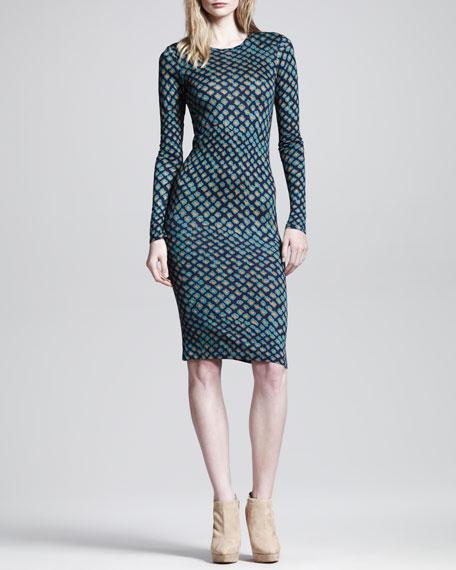 Long-Sleeve Printed Dress
