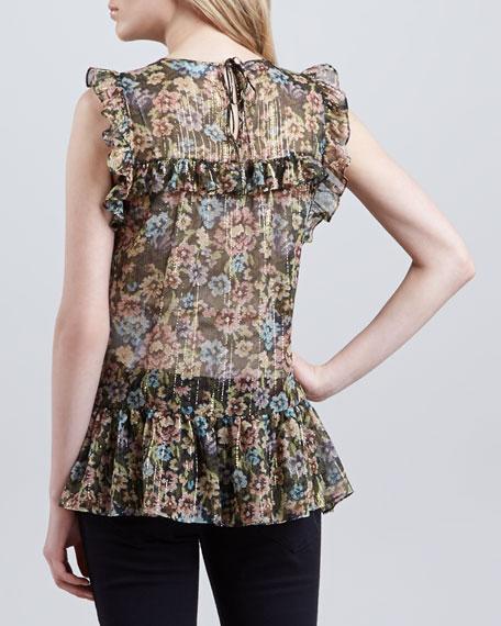Floral Chiffon Sleeveless Tunic Length Blouse, Olive