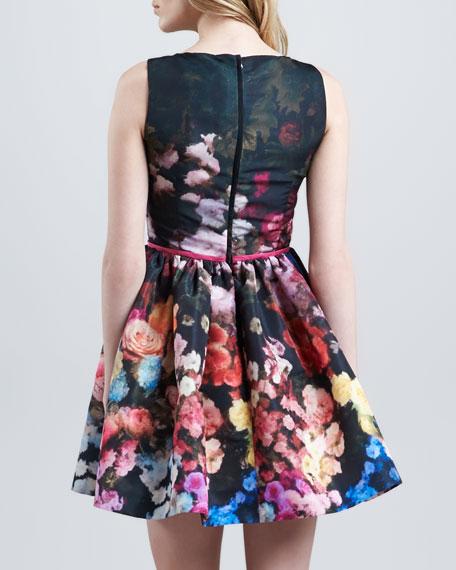 Hazy Garden Silk Faille Fit & Flare Dress, Rose
