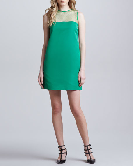 Point d'Esprit Faille Shift Dress, Green