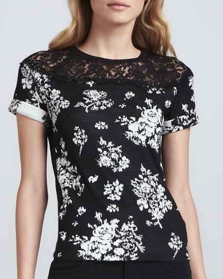 Lace Inset Floral Knit Top, Black/White