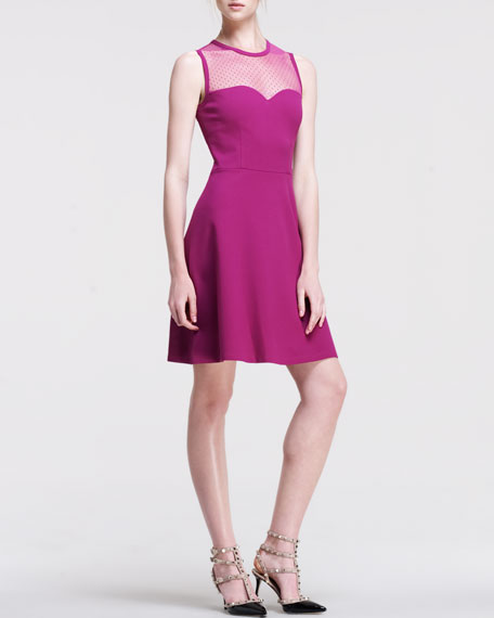 Ponte Jersey Dress with Point D'Esprit and Embellished Sweetheart Neckline, Raspberry