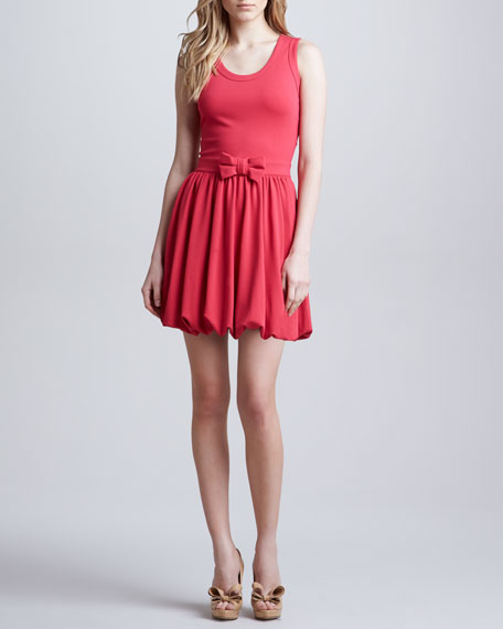 Sleeveless Dress with Bubble Hem, Hibiscus