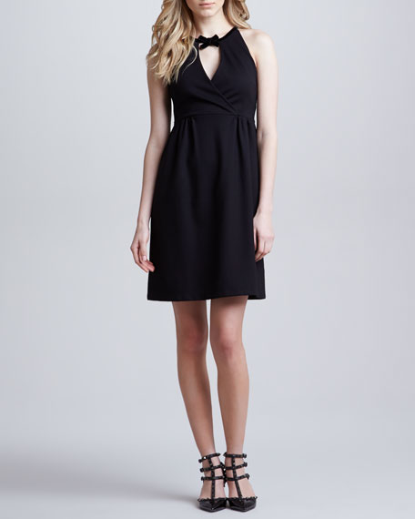 Sleeveless Dress with Bow at Neck, Black