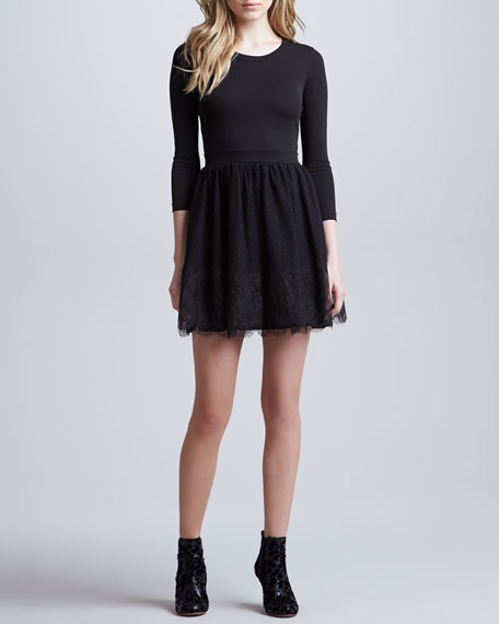 Crepe Jersey Dress with Chantilly Lace Skirt, Black