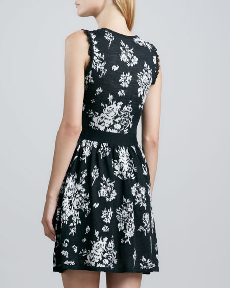 Lace Inset Floral Knit Dress, Black/White