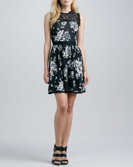 Lace Inset Floral Knit Dress, Black/White