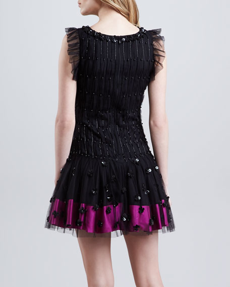 Embellished Dropped-Waist Dress, Black/Multicolor