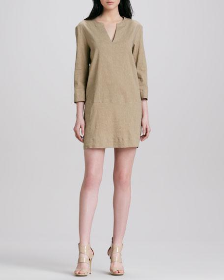 Helda Linen-Blend Dress, Sandy Beige