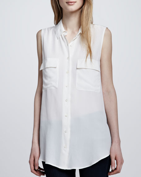 Signature Sleeveless Pocket Blouse, White