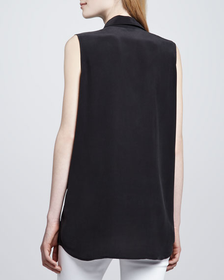 Signature Sleeveless Pocket Blouse, Black
