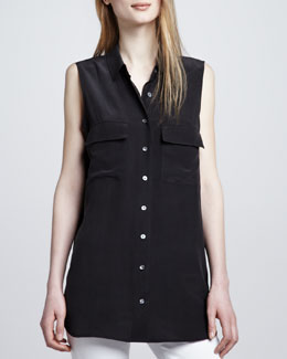 Equipment Signature Sleeveless Pocket Blouse, Black