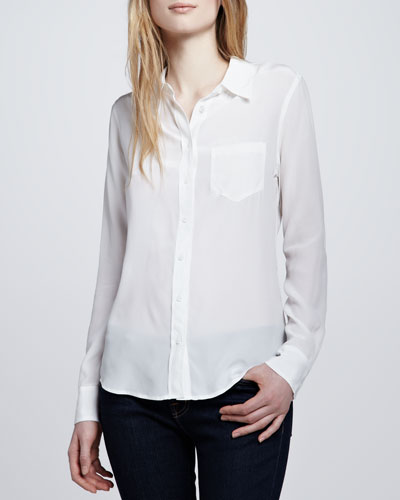 Equipment Brett Button-Up Blouse, White