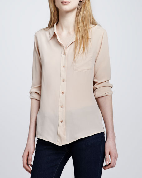 Brett Button-Up Blouse, Nude