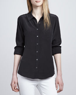 Equipment Brett Button-Up Blouse, Black