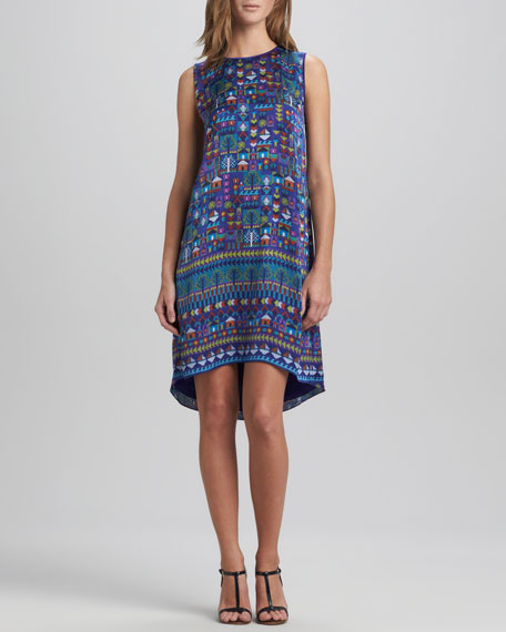 Selina Folk Art Printed Sleeveless Dress