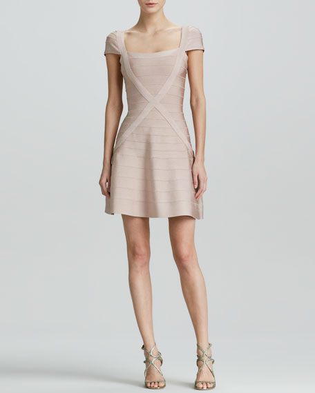 X-Front Bandage Dress with Flared Skirt