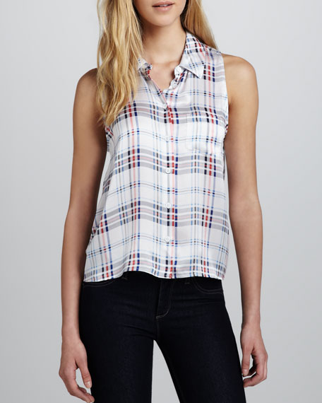 Mina Plaid Silk Blouse